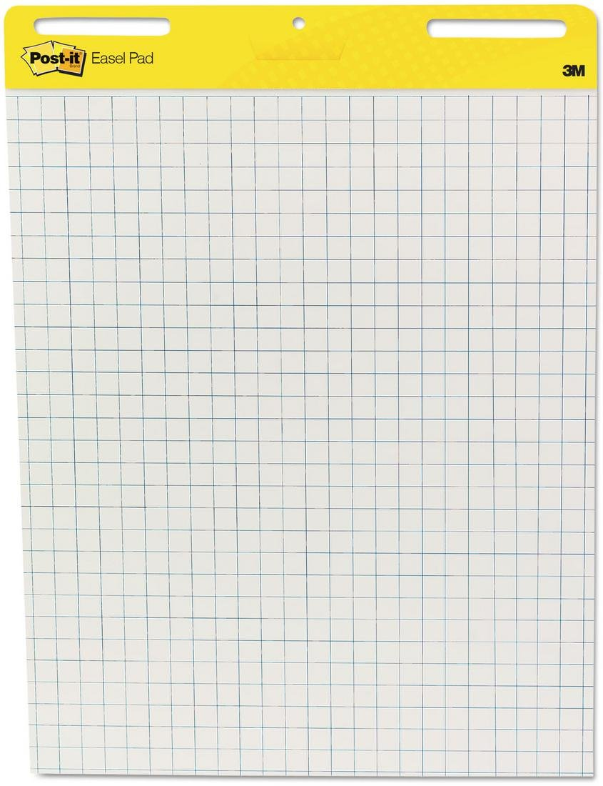 Wholesale CASE of 5 - 3M Post-it Faint Grid Easel Pad-Easel Pad,Self-stick,Grid,30 Sheets,25''x30'',2/CT,White
