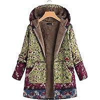 sibina Showy Women Autumn Winter Floral Printed Hooded Jacket Coat Outwear