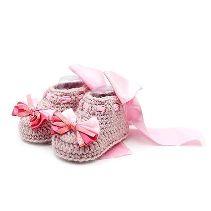 Zapatillas de ganchillo para bebé recién nacido, hechas a mano, con un lazo,