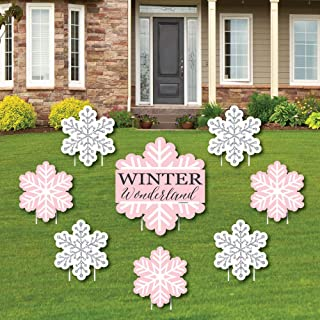 product image for Big Dot of Happiness Pink Winter Wonderland - Yard Sign and Outdoor Lawn Decorations - Holiday Snowflake Birthday Party or Baby Shower Yard Signs - Set of 8