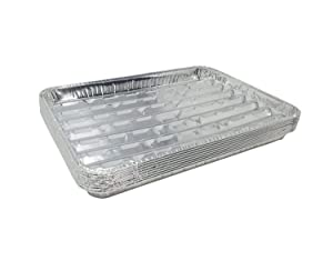 "Pack of 25 Disposable Aluminum Broiler Pans – Good for BBQ, Grill Trays – Multi-Pack of Durable Aluminum Sheet Pans – Ribbed Bottom Surface - 13.40"" x 9"" x 0.85"""