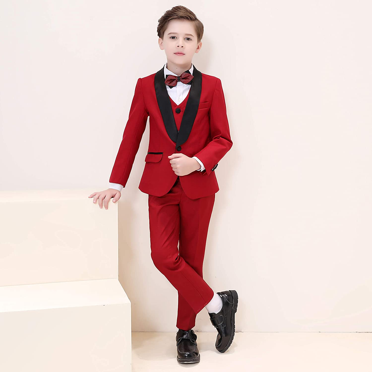 Hibabe Boys Morden Slim Fit Suit 5 Pieces Set,Boys Formal Occasion Wear White