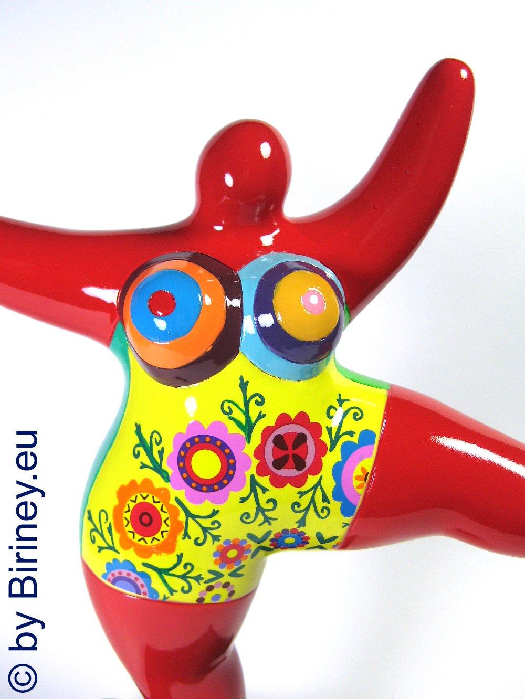 Biriney Nana-Skulptur mit bunten Blumen Sommer-Nana Figur Limitierte Edition