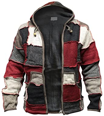 Shopoholic Fashion Mens Winter Patch Wool Hippie Jacket (S)
