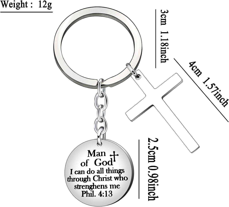 je peux faire toutes choses BHXRODE Porte-cl/és en forme de croix pour pri/ère inspiration de No/ël homme de Dieu bapt/ême