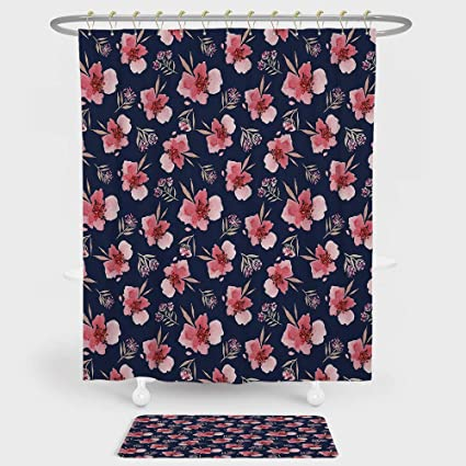 Watercolor Shower Curtain And Floor Mat Combination Set Nature Inspired Composition With Pink Garden Flora Vintage