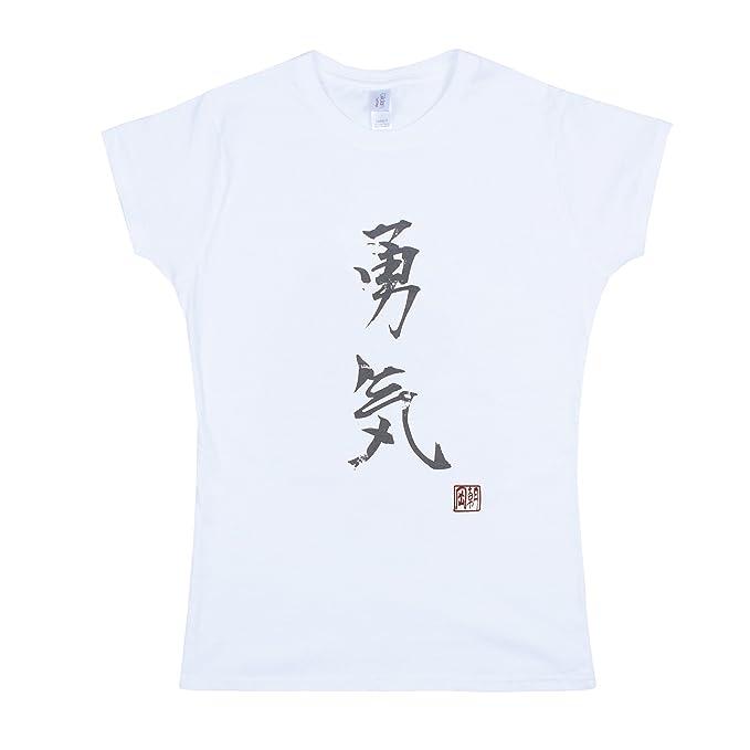 Japonés - Camiseta yuki/Courage - Impresión de la caligrafía japonesa de las mujeres Ladies T Shirt, color blanco: Amazon.es: Ropa y accesorios