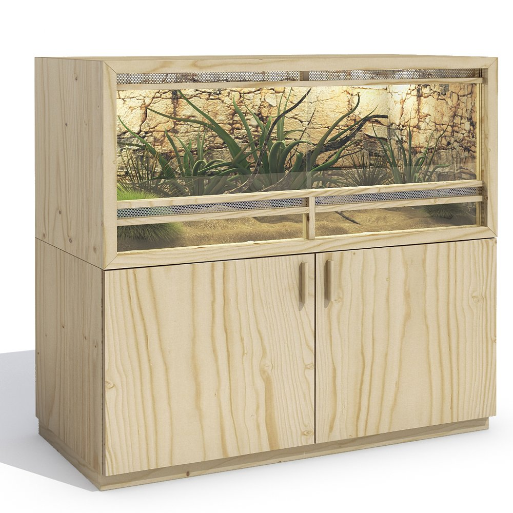 Terrarium 120x60x60 cm Frontbelüftung Unterschrank Holzterrarium ...