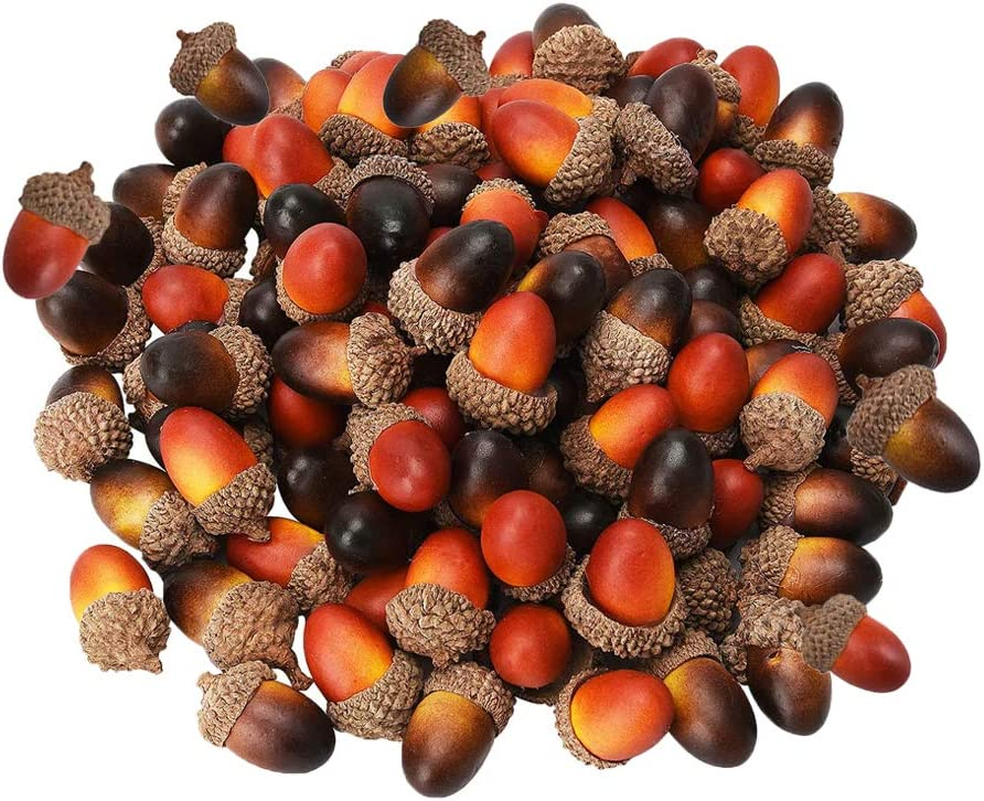 Haawooky 100PCS Artificial Acorns,Fake Acorn,Craft Acorns for Christmas,Autumn Party Decoration,Dark and Light Color