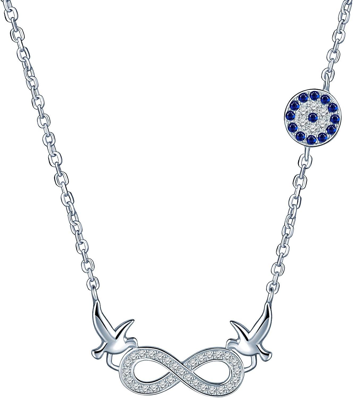 Yumi Lok Plata de ley 925/circonita Paz palomas Infinito S/ímbolo Colgante chica collar cadena con colgante