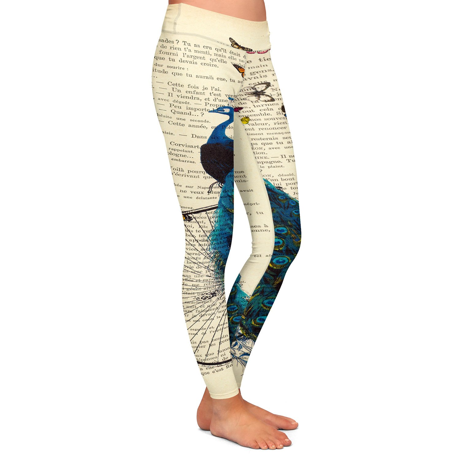 Athletic Yoga Leggings from DiaNoche Madame Memento Peacock Bicycle Butterflies