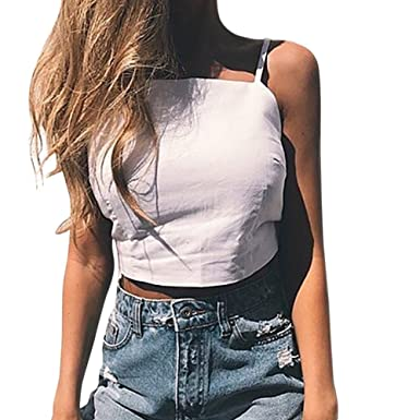 e68f2e248676d Amazon.com  Nufelans Women Tank Tops Bow Knot Crop Vest Summer Tie Up  Tanktops Slash Neck Open Back Blouse Solid Camisoles  Clothing