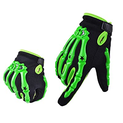 Chitone Full Finger Skeleton Motocross Riding Gloves for Motorcycle (Medium, green): Automotive