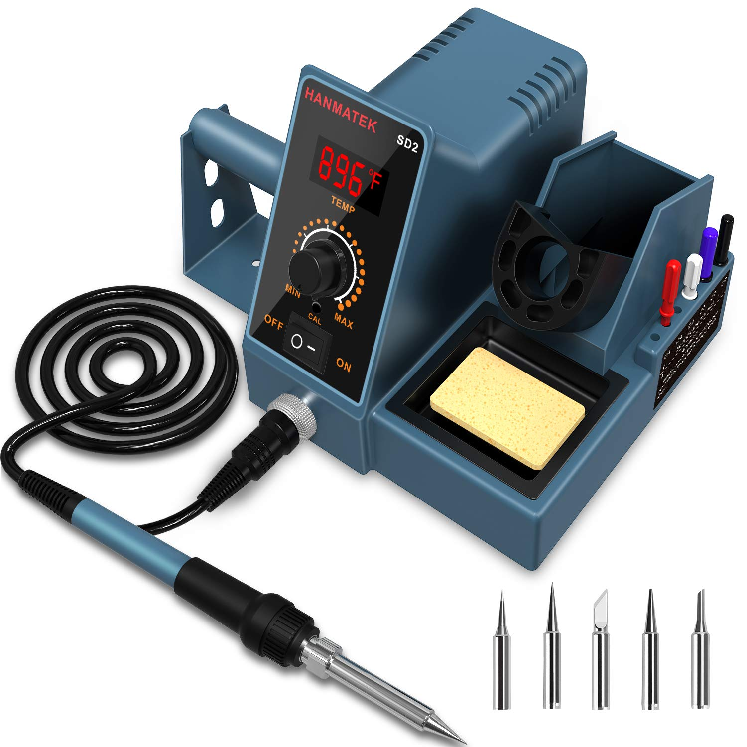 Soldering Station, HANMATEK Digital Display Soldering Iron Station, 392℉-896℉ Temperature Adjustable Better Soldering Iron,5 Additional Soldering Iron Tips, Soldering Kit with Solder Bracket SD2