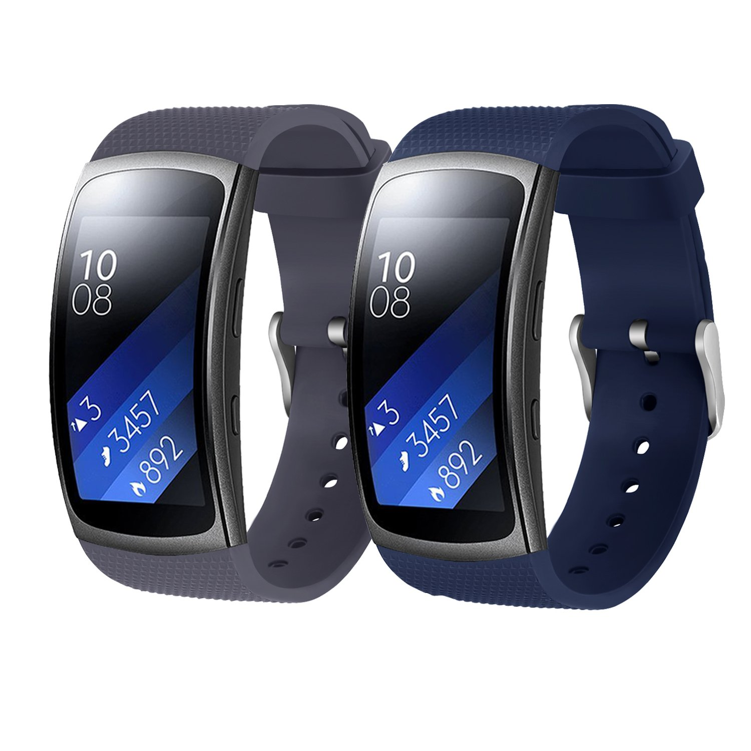 Bands for Samsung Gear Fit 2 Band/Gear Fit 2 Pro[2-Pack: Gray+Blue], Rukoy Replacement Straps Accessories for Samsung Gear Fit2 Pro SM-R365/ Gear Fit2 ...