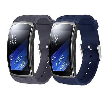 Rukoy Correas Samsung Gear Fit 2 Band/Gear Fit 2 Pro [Paquete de 2: Blue + Gray], Accesorios para Baterías de Repuesto para Samsung Gear Fit2 Pro ...