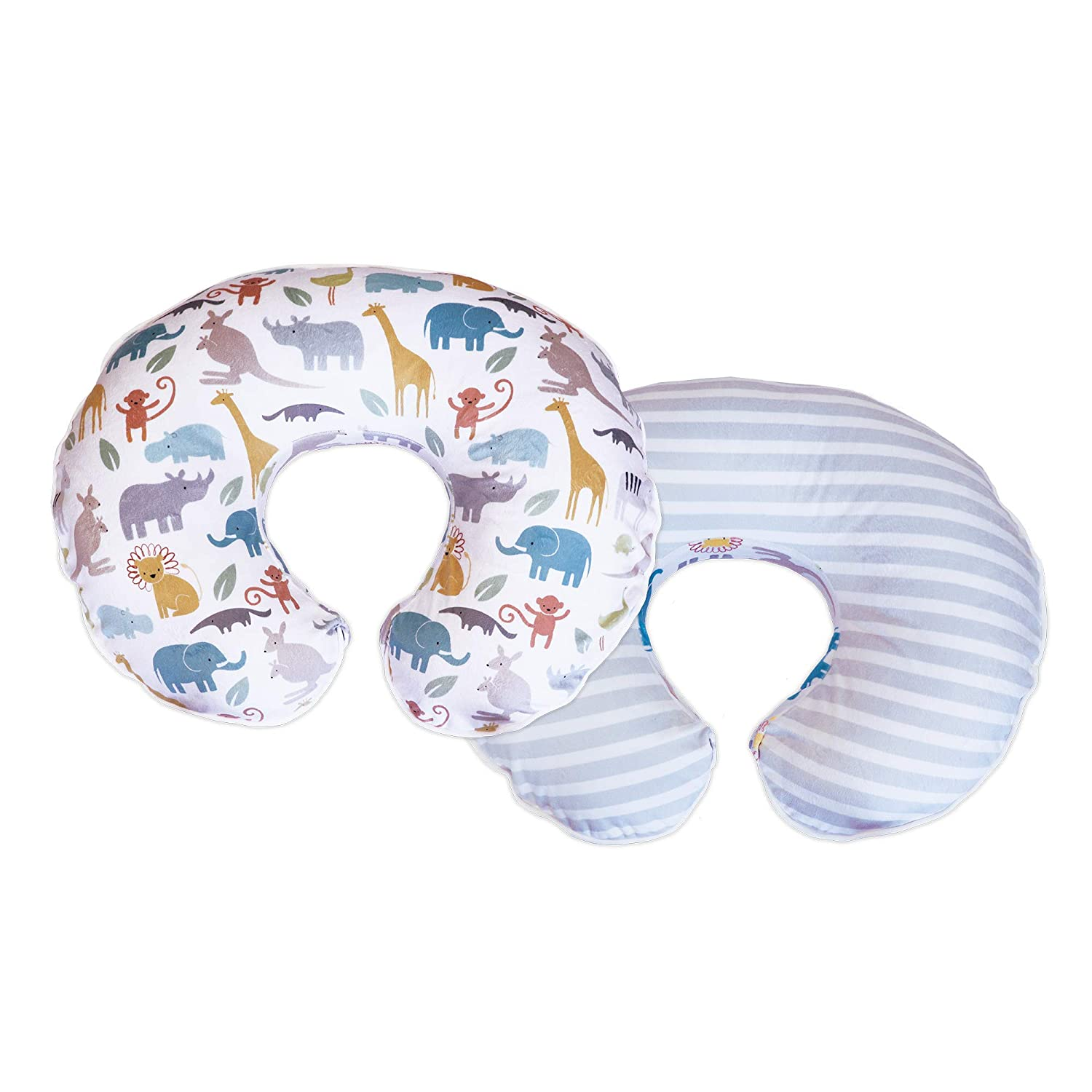 Boppy Boutique Pillow Cover, Pastel Animal Stripe, Minky Fabric in A Fashionable Two-Sided Design, Fits All Nursing Pillows & Positioners