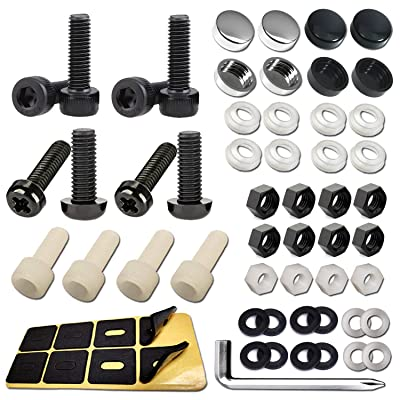 Nylon License Plate Screws -68PCS Nylon License Plate Bolts & Nuts with Black Plate Screw Caps,License Plate Pads for Fastening Frames, and Covers on American Motorcycles, Bikes and Trailer: Industrial & Scientific