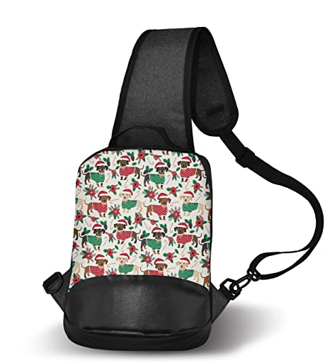 512d7e141a0f Amazon.com | Cute Doxie Dachshund Dogs Christmas Sling Bag Sling ...