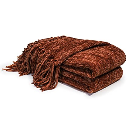 Amazon Com Dozzz Thick Fluffy Chenille Knitted Throw Blanket With