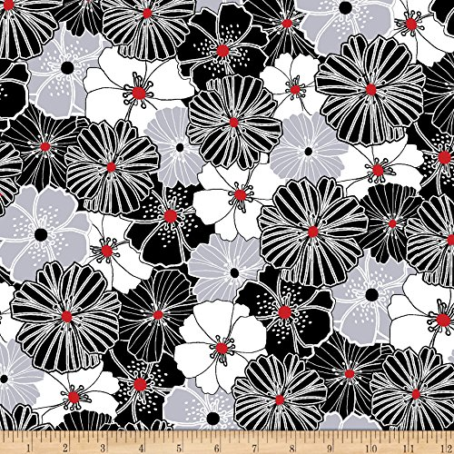 (Benartex Kanvas Twist Packed Poppies Gray/Cherry Fabric by The)