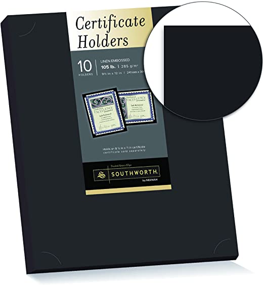 47836 10//Pack 9.5 x 12 Geographics Black Certificate Holder