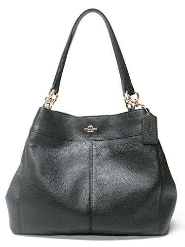 Coach F57545 Lexy Pebble Leather Shoulder Bag (Black)  Handbags ... 08de3752a618c