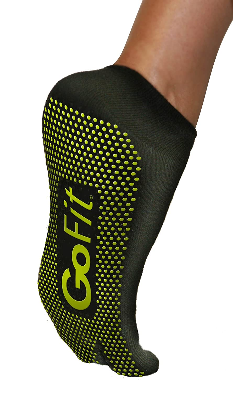 GoFit Yoga Socks with Grip Bottom, Black, Small/Medium
