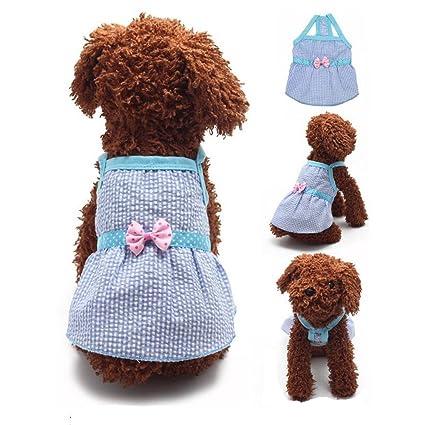 d12ac1e21e FuzzyGreen Small Cute Blue Plaid Polka Dot Bowknot Ribbon Braces Best Skirt  Sundress for Pet Dog