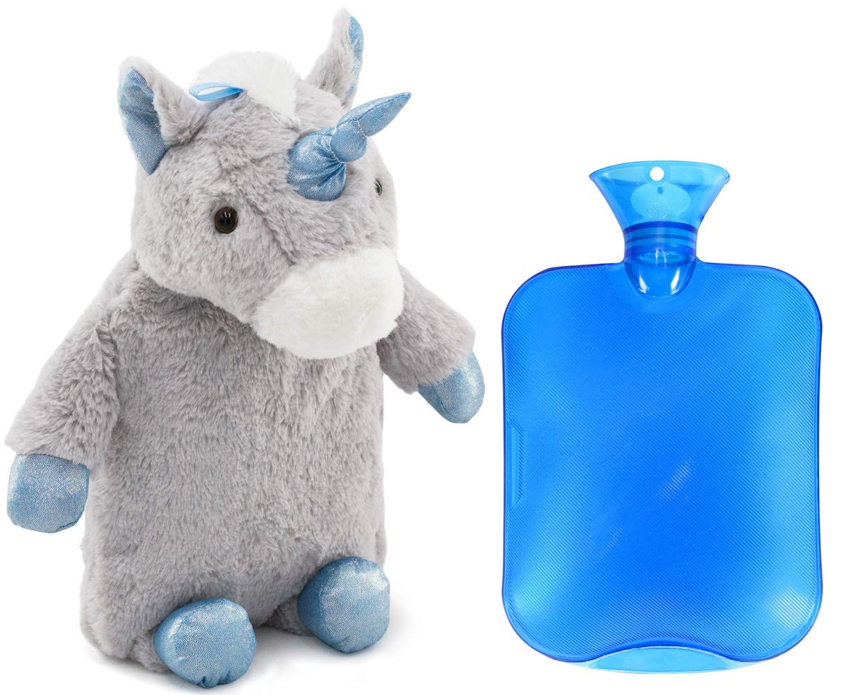 HomeTop Premium Classic PVC Hot Water Bottle with Cute Unicorn Cover (2L, Gray) by HomeTop