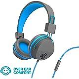 JLab Audio JBuddies Over-Ear Kids Wired Headphones | Toddler Headphones | Kid Safe | Studio Volume Safe | Volume Limiter | Folding | Adjustable | Noise Isolation | with Mic | Graphite/Blue