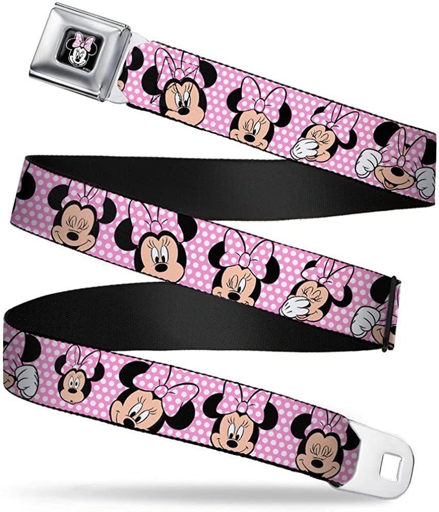 Minnie Mouse Expressions Polka Dot Pink//White 1.0 Wide 20-36 Inches in Length Buckle-Down Seatbelt Belt