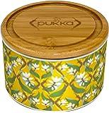 Pukka Ceramic Tea Caddy Gift Set - Turmeric Gold Design - Includes 10 Tea Sachets