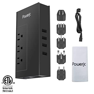Powerjc Travel Voltage Converter Power Adapter Step Down 220V to 110V Rated Power 1875W with 4 Smart USB Charging Ports ETL for Hot Air Brush and Hair Dryer Black: Home Audio & Theater
