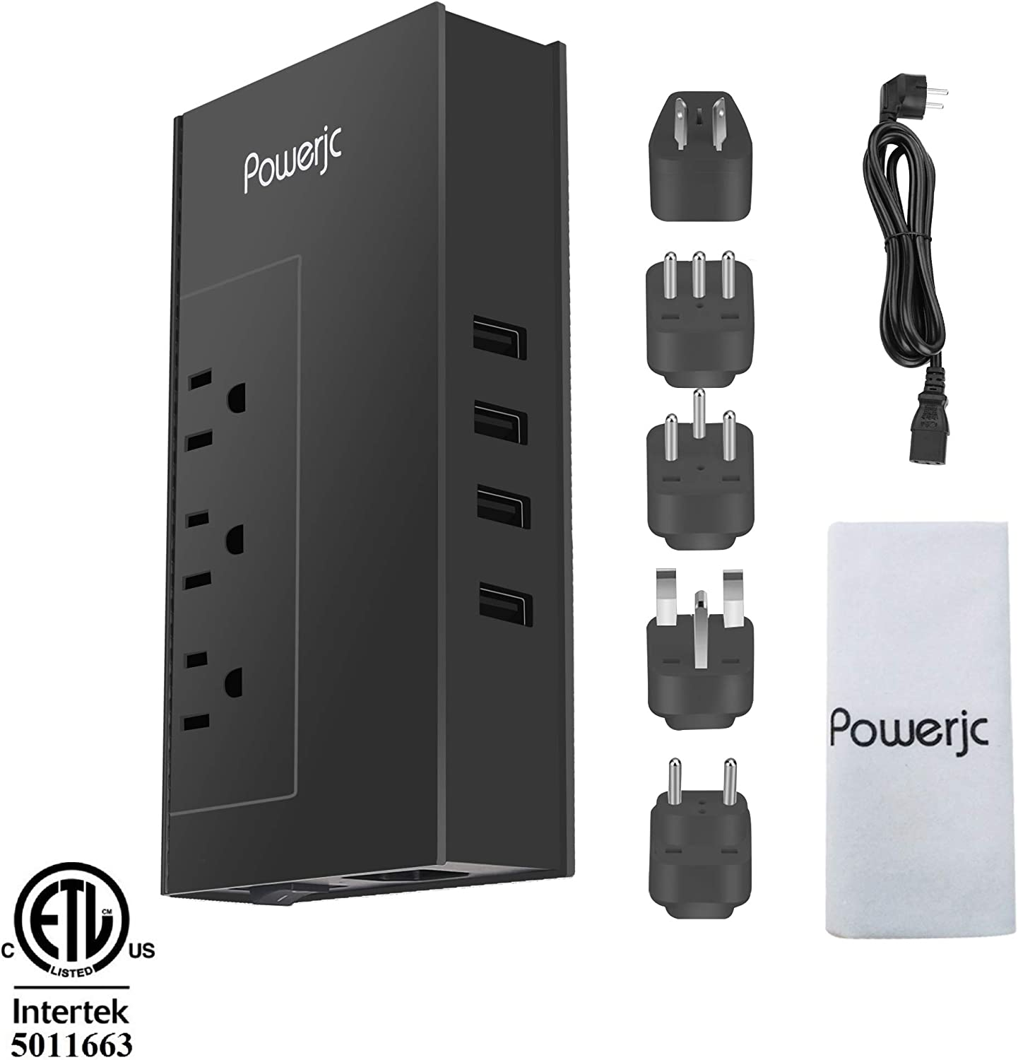 Powerjc Travel Voltage Converter Power Adapter Step Down 220V to 110V Rated Power 1875W with 4 Smart USB Charging Ports ETL for Hot Air Brush and Hair Dryer Black