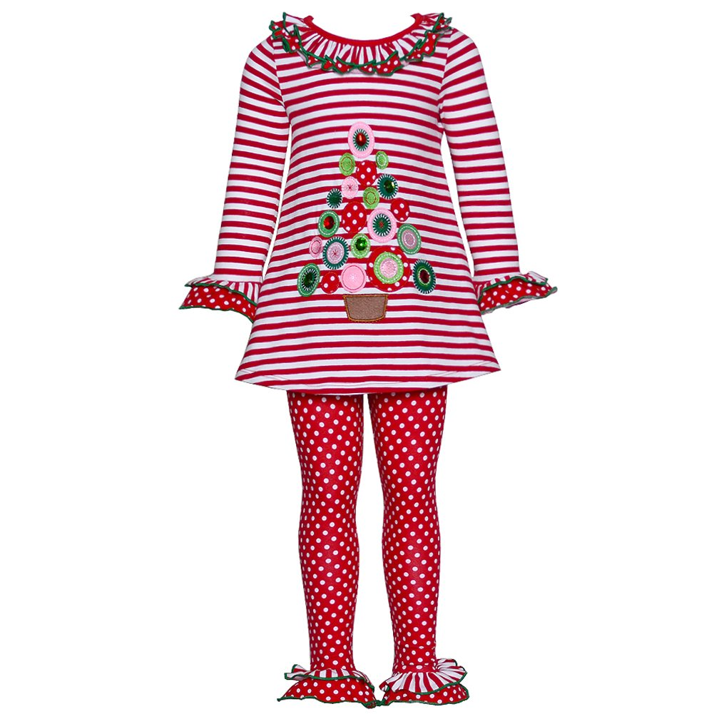 Bonnie Jean Red White Stripe Christmas Tree 2pc Outfit