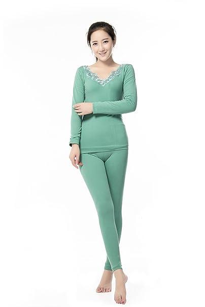 QIN&X La mujer más gruesa del Slim Fit ropa interior térmica establecida, verde, un tamaño: Amazon.es: Ropa y accesorios