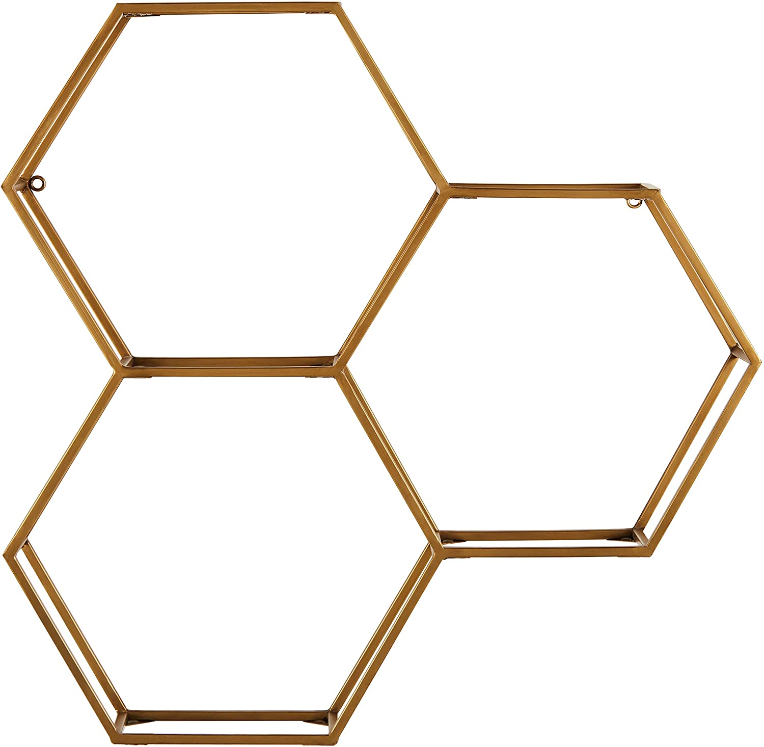 Amazon Brand – Rivet Modern Hexagon Honeycomb Floating Wall Shelf Unit with Glass Shelves - 28 x 28 x 6 Inch, Gold