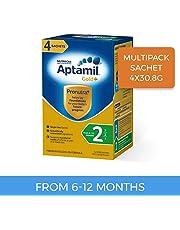 Aptamil Gold+ Follow-on Formula Multipack Stage 2 Sachet, 4 Pack, 123.2g