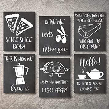 Wall Decor Kitchen Pictures Modern Farmhouse Eat Signs Decorations Shabby  Chic Art Sign Prints for Home or Office Kitchen Coffee Deco Wall Shelves or  ...