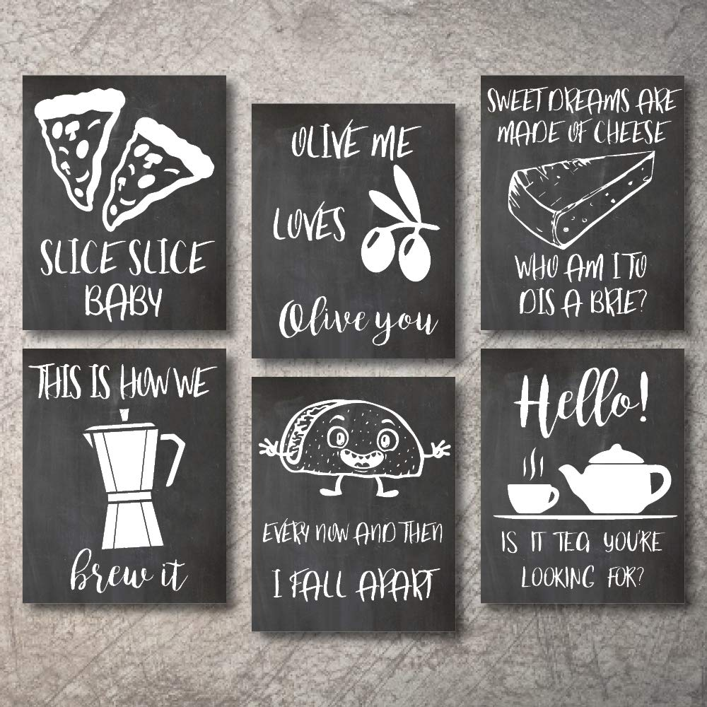 "Wall Decor Kitchen Pictures Modern Farmhouse Eat Signs Decorations Shabby Chic Art Sign Prints for Home or Office Kitchen Coffee Deco Wall Shelves or hanging shelf Vintage Decore Bar (Chalk, 8""x10"")"
