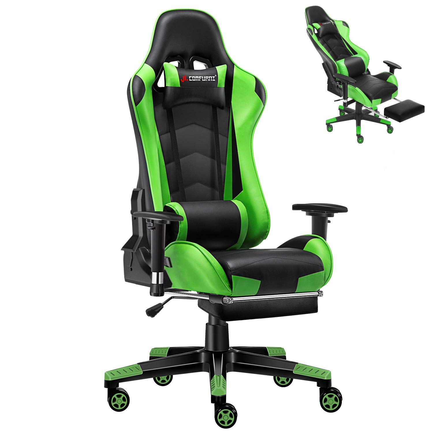 JL Comfurni Gaming Chair with Footrest Office Chair Reclining High-Back Ergonomic PU Leather Desk Chair Racing Swivel Computer Chair with Adjustable Headrest and Lumbar Support for Adults Green by JL Comfurni