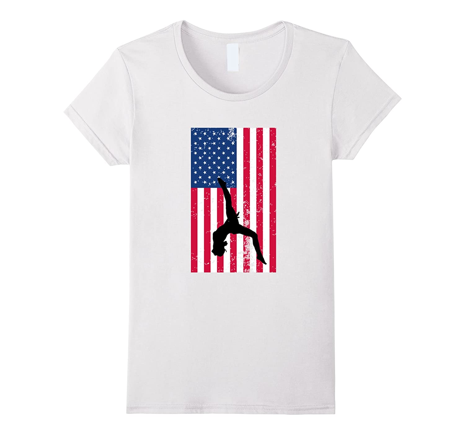 4th of July Distressed American Flag Gymnastics T Shirts-TH