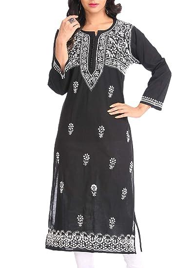 Ada Hand Embroidered Lucknow Chikan Womens Cotton Kurti Kurta A341075_black