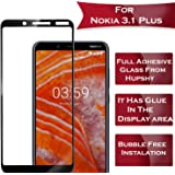 Hupshy Edge to Edge Curved Full Tempered Glass Screen Guard for Nokia 3.1 Plus - Black