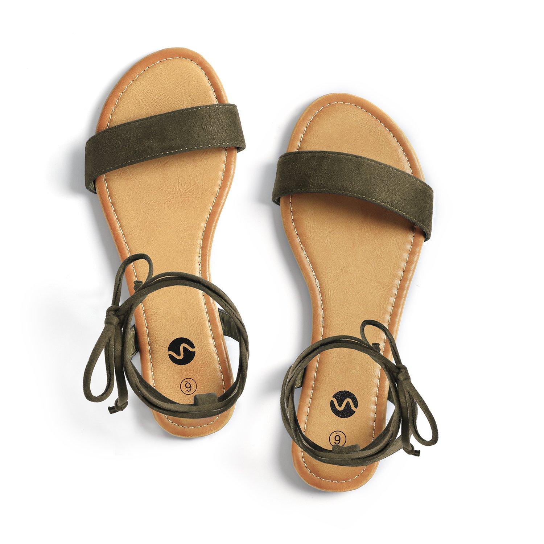 Rekayla Open Toe Tie up Ankle Wrap Flat Sandals for Women Khaki Green 08