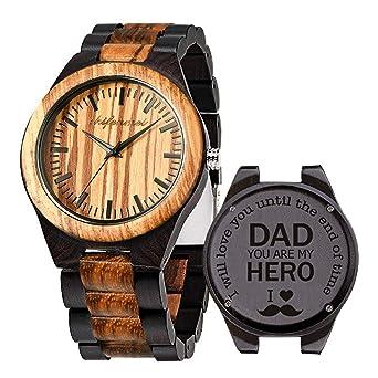 Amazon.com: Reloj de madera grabado, reloj de madera grabado ...