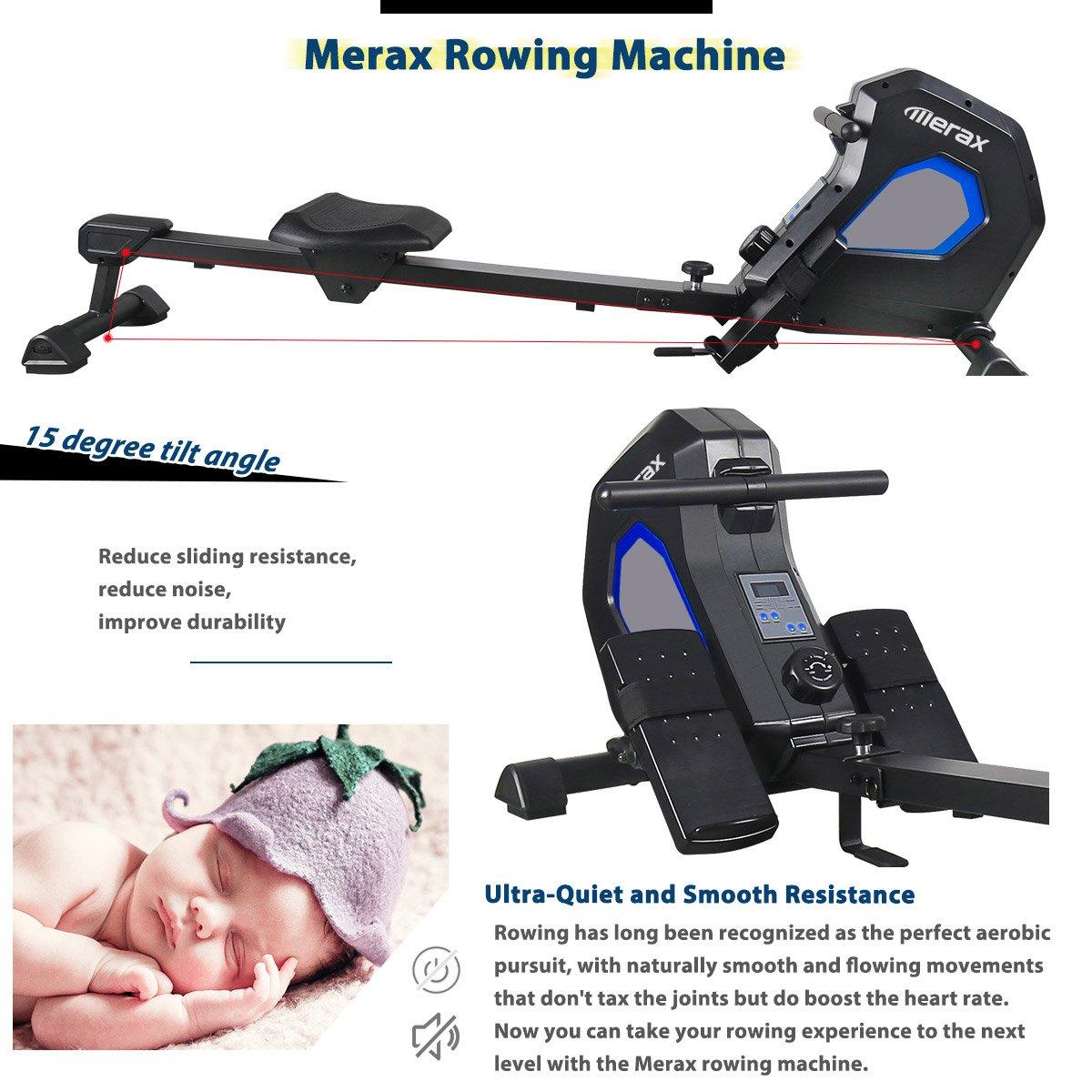 Merax Magnetic Exercise Rower Adjustable Resistance Rowing Machine (BK) by Merax (Image #2)