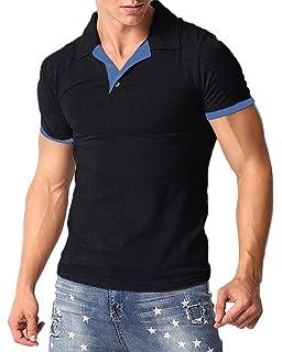 346f5bb07 MODCHOK Men's Polo Shirt Short Sleeve Collar T Shirts Cotton Tee Button  Casual Slim Fit Tops