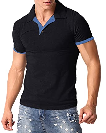 1e45881b1 MODCHOK Men's Polo Shirt Short Sleeve T Shirts Cotton Tee Button Slim Fit  Tops Black S